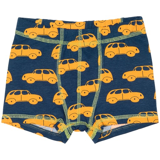 Organic cotton baby vest in yellow car print by Maxomorra
