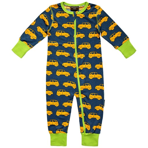 Zippered organic cotton romper sleepsuit in cars print by Maxomora