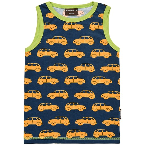 Organic cotton sleeveless vests by Maxomorra - Little cars in yellow on blue