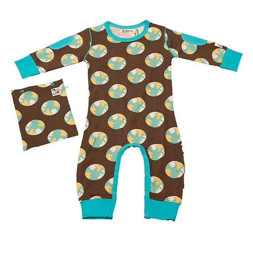 Doodle Do earth print romper in organic cotton
