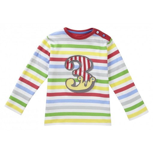 Number 3 long sleeve top by Piccalilly in organic cotton 1