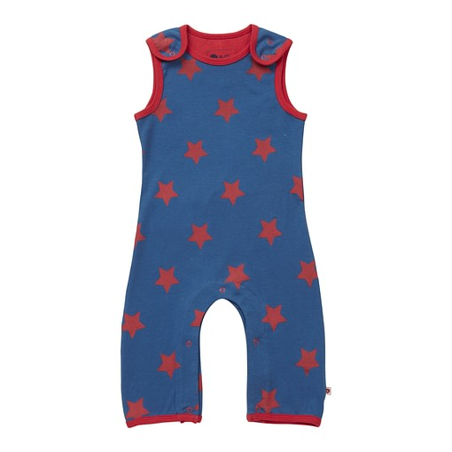 Blue and red star dungarees by Piccalilly in organic cotton 1