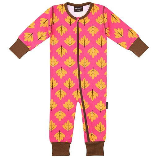 Autumn leaves zippered romper suit by Maxomorra
