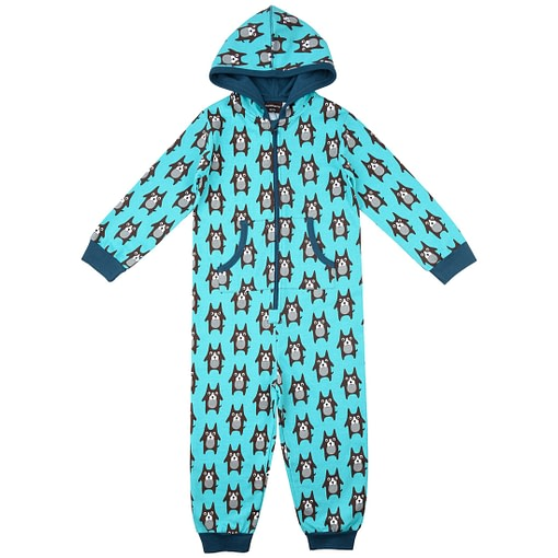 Maxomorra one piece hooded organic pyjamas in browny dog print