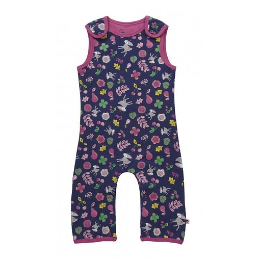 Pink and blue floral caribou deer dungarees by Piccalilly in organic cotton 1
