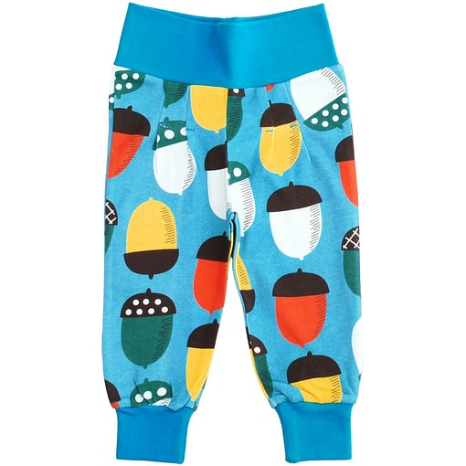 DUNS Sweden big blue acorn print baby trousers in organic cotton 1
