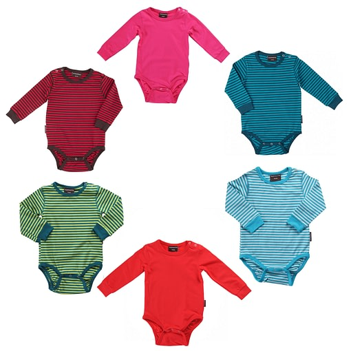 Organic cotton bright plain and striped long sleeve vests Maxomorra