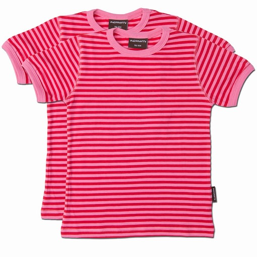 Maxomorra ~ Cerise and red stripe organic cotton t-shirts - 2 pack (3-6m) 1