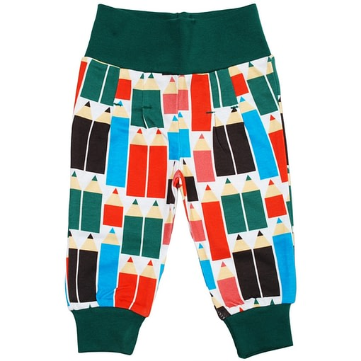 DUNS Sweden pencils print baby trousers in organic cotton 1