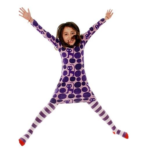 More than a Fling purple cat print organic cotton long sleeve dress 1