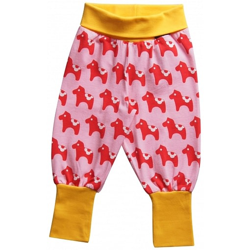Dala horse print organic cotton baby trousers