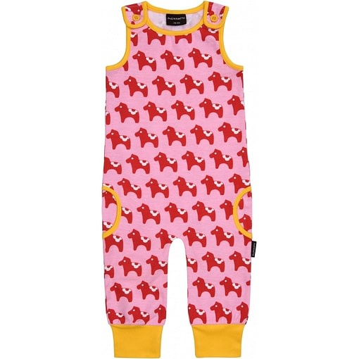 Dala horse playsuit dungarees in organic cotton by Maxomorra