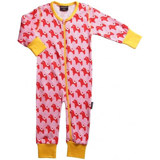 Dala horse zip sleep suit in organic cotton by Maxomorra
