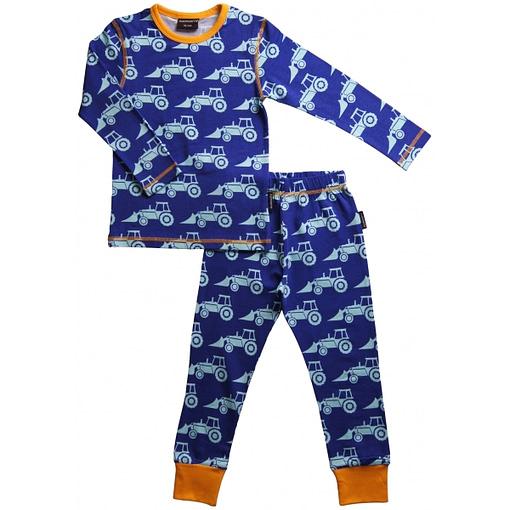 Bright blue and yellow excavator print pyjamas by Maxomorra