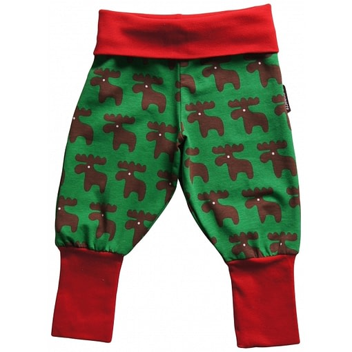 Christmas moose baby trousers in organic cotton by Maxomorra