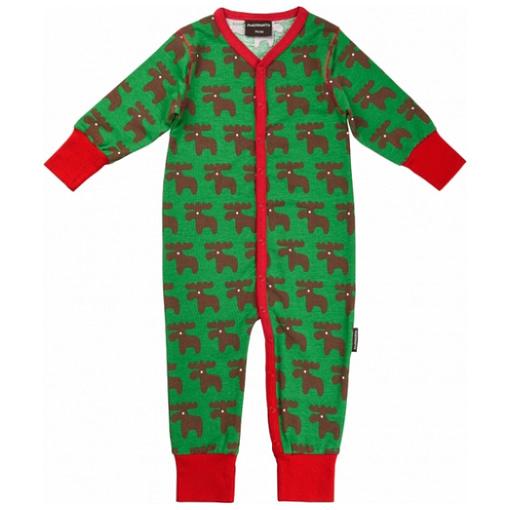 Poppered romper in Christmas moose print sleepsuit