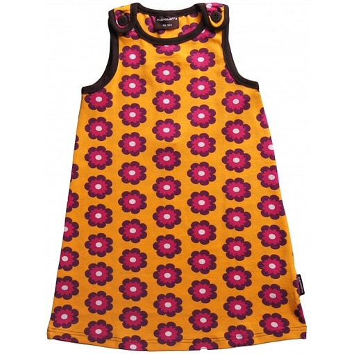 Flower power pinafore dress by Maxomorra in organic cotton