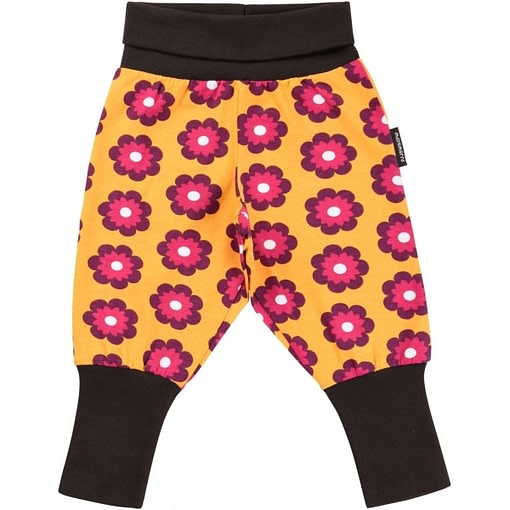 Bright petunia flower print baby trousers in organic cotton