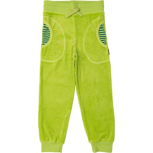 Bright green velour circle pants by Maxomorra