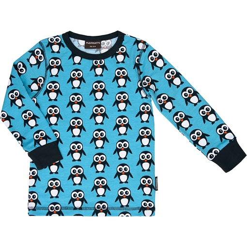 Maxomorra ~ Blue Christmas penguin organic cotton long sleeve top 1