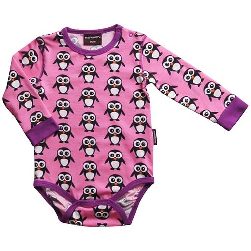 Pink Christmas penguins organic cotton long sleeve body vest - Maxomorra 1