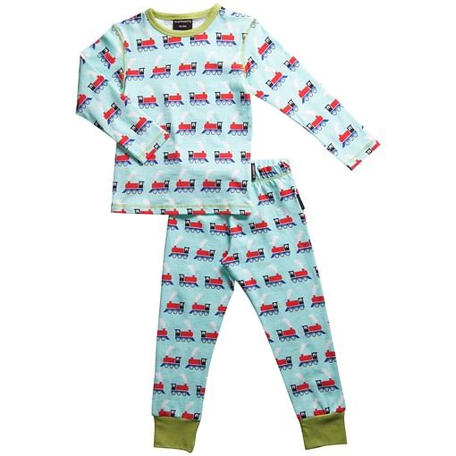 Organic cotton pyjamas in trains print by Maxomorra