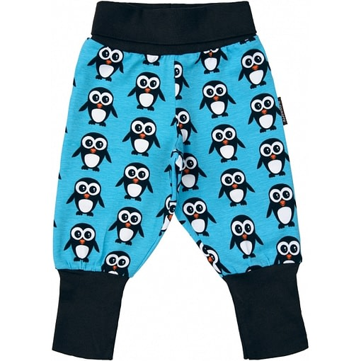 Blue penguin trousers by Maxomorra in organic cotton 1