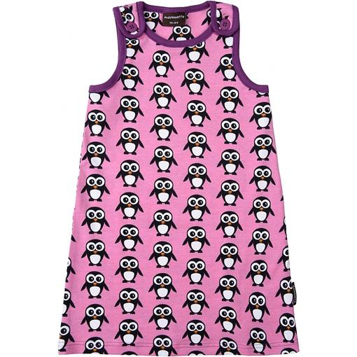 Maxomorra Christmas pink penguin print organic pinafore dress 1