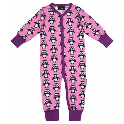 Pink Christmas penguins organic long sleeve poppered romper PJs - Maxomorra 1