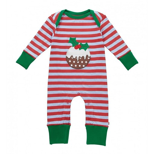 Organic cotton playsuit by Piccalilly - Christmas pudding