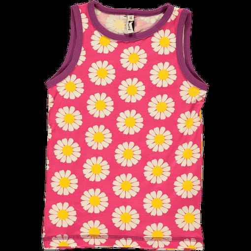 Organic cotton girls vest in Scandi daisies print by Maoxmorra