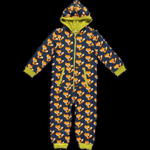 Fox print organic cotton hooded onesie jumpsuit