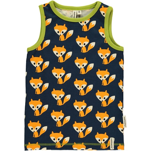 Foxes sleeveless vest in organic cotton by Maxomorra