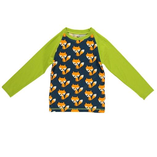 Foxes slim fit raglan green sleeve Maxomorra top