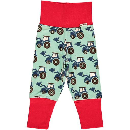 Tractor scandi print baby trousers by Maxomorra