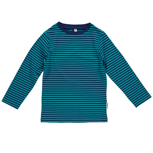 Bright turquoise stripy organic top by Maxomorra (18-24m) 1