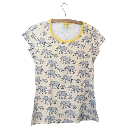 DUNS Sweden organic cotton ladies t-shirt in yellow elephants print (S) 1