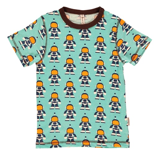 Maxomorra ~ Astronaut print organic cotton short sleeve t-shirt (18-24m) 1