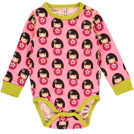Japanese doll baby bodysuit in organic cotton by Maxomorra
