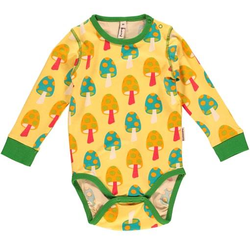 Mushroom baby bodysuit in rainbow colours by Maxomorra