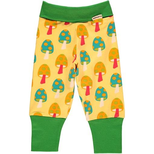 Mushroom baby trousers by Maxomorra on yellow organic cotton 1