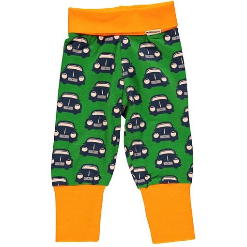Retro car baby trousers by Maxomorra on green organic cotton (18-24m) 1