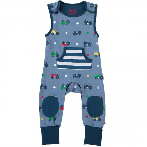 Tractor dungarees by Piccalilly in organic cotton (2-3) 1
