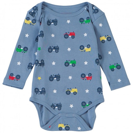Tractor long sleeve bodysuit by Piccalilly in organic cotton 1