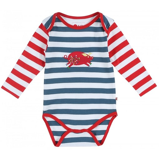 Pig on stripes long sleeve bodysuit by Piccalilly in organic cotton 1