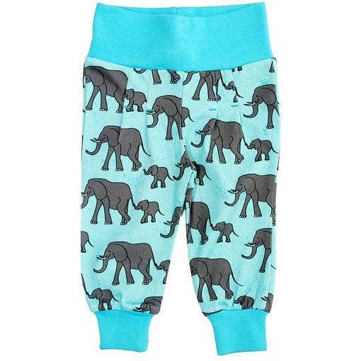 Elephants print trousers on blue organic cotton