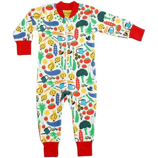 Organic cotton onesie pyjamas by DUNS Sweden - vegetable garden