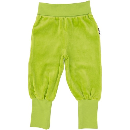 Maxomorra velour bright green baby rib pants trousers