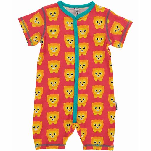 Lions print romper suit in short sleeves