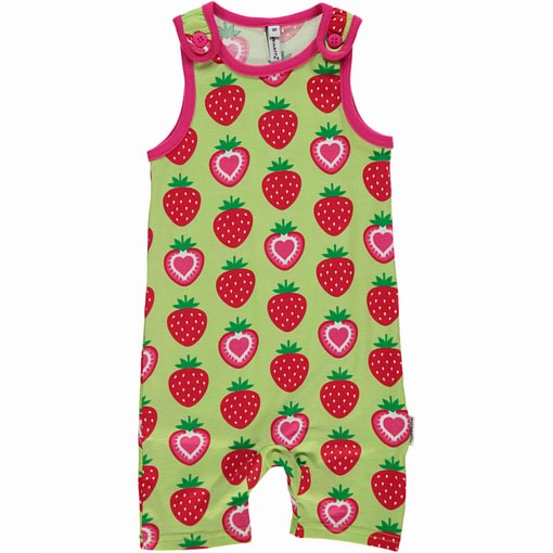 Strawberries print shorts dungarees by Maxomorra
